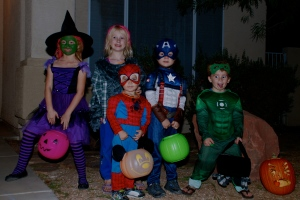 5 kids out for Halloween