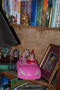 Elf on the Shelf with Barbie in pink car